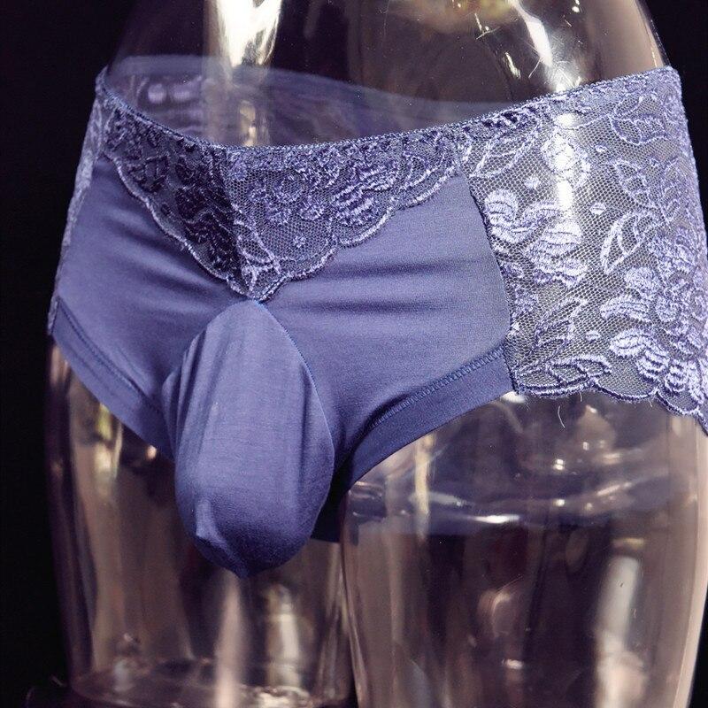 Gay Fetish Men Lace Panties Sexy String Men's Boxer Sissy Lingerie Homme Transparent Porn Panties U Pouch Encaje Sexy  Underwear