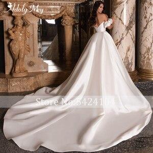 Image 2 - Adoly Mey New Romantic Boat Neck Backless A Line Wedding Dresses 2020 Graceful Satin Chapel Train Princess Bride Gown Plus Size