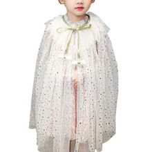 Kids Girl Fairy Cape Princess Candy Color Glitter Star Sequins Cloak Tulle Shawl Party Costume for children 2020 new bridal dress cloak tulle princess proof shawl party stage catwalk photographic portrait tulle cloak