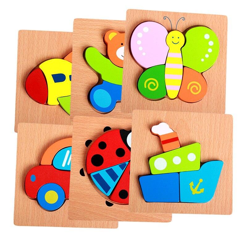 Набор ручной головоломки мультфильм животных транспорт трехмерная головоломка дети деревянные раннего возраста развивающие игрушки
