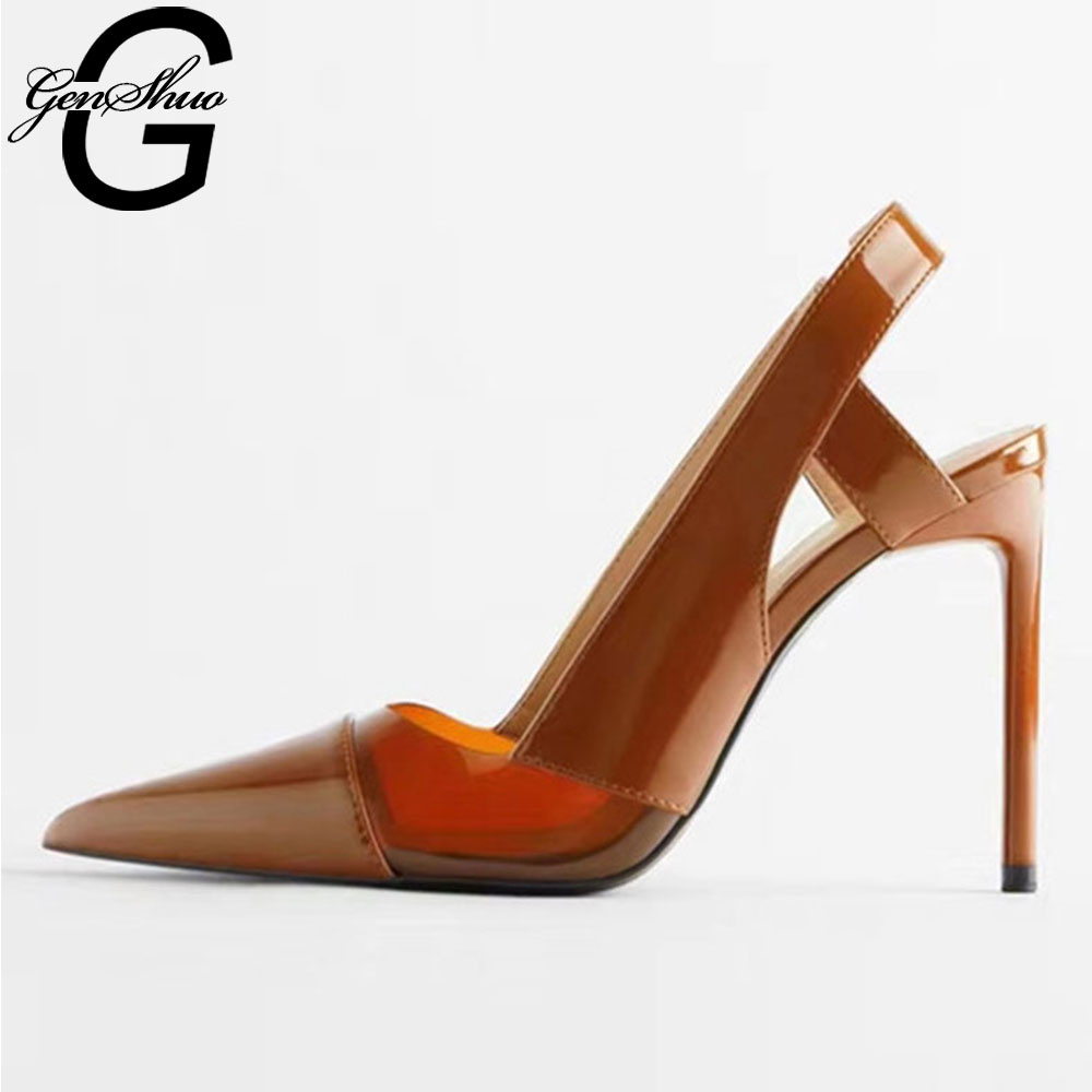 GENSHUO High Heels Shoes Women Pumps 11cm Woman Shoes Sexy Pointed Toe Wedding Party Shoes Stilettos Thin Heels Stiletto Pumps
