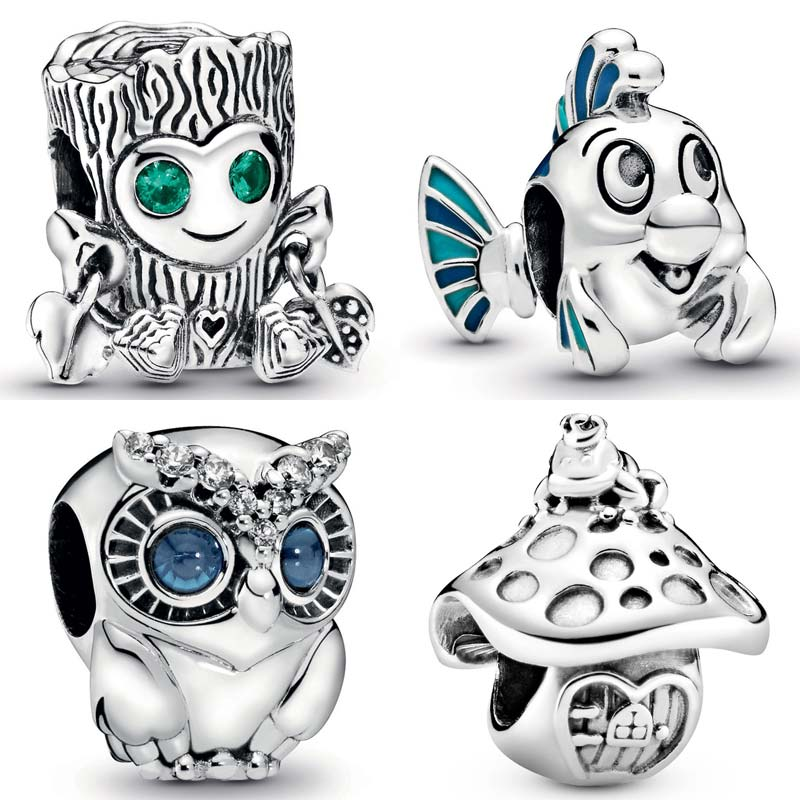 925 Sterling Silver Charm Jewelry Sparkling Owl Tree Mermaid Flounder Mushroom Frog Beads,Fit Pandora Bracelet Diy Women Gift(China)