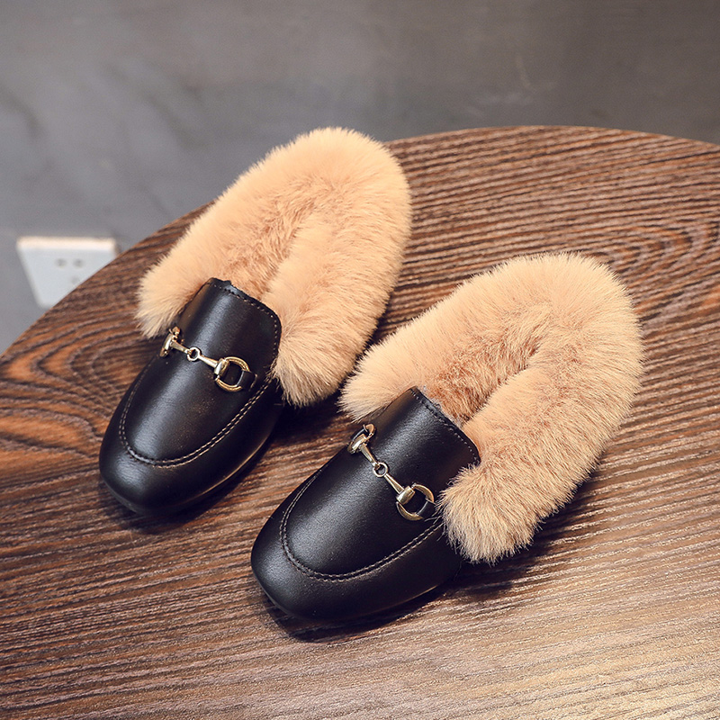 Autumn 2019 Fur Slippers Children's Slippers Girls Children Winter Shoes Loafers Flat Moccasins Pu Leather Kids Slipper 3-11Y