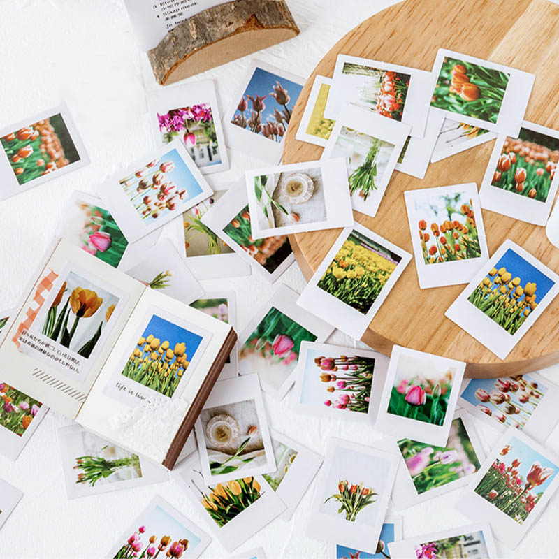 46Pcs Cute Tulip Flowers Stickers Kawaii Plants Decor Stationery Stickers Paper Adhesive Sticker For Kids Scrapbooking Supplies