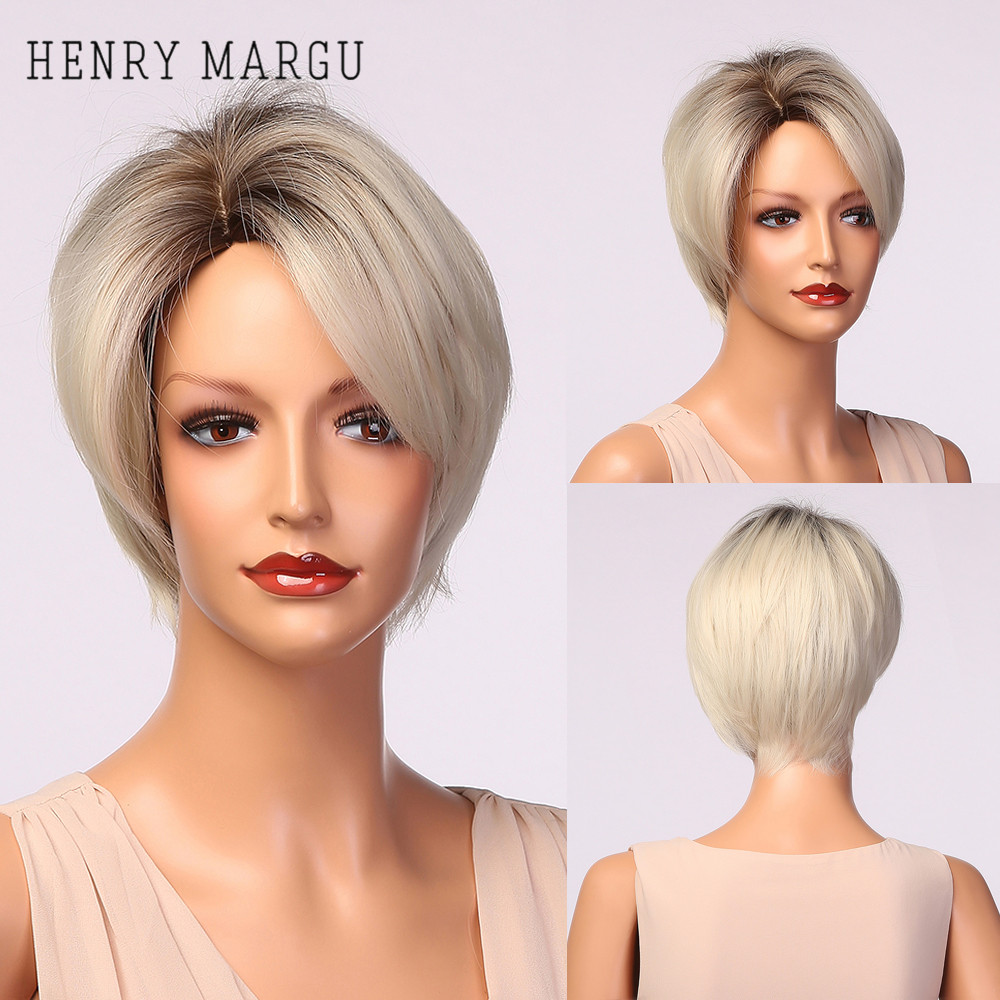 HENRY MARGU Short Straight Haircut Wigs Ombre Black Platinum Blonde White Wig with Side Bangs Coaplay Synthetic Hair for Women