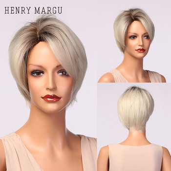 HENRY-Suarez corto recto pelucas de pelo corto Ombre negro rubio platino peluca blanca con flequillo lateral Coaplay sintético pelo para las mujeres