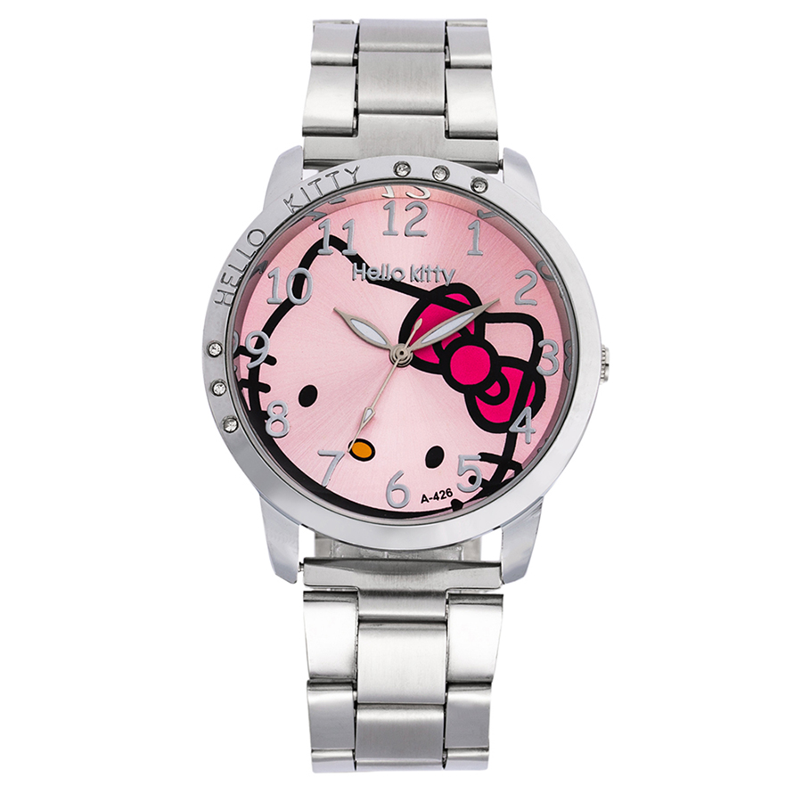 Hello Kitty Child Watch Rhinestone Cartoon Hodinky Luxury Rhinestone Stainless Steel Buckle Simple Kid Reloj Mujer Feminino Saat