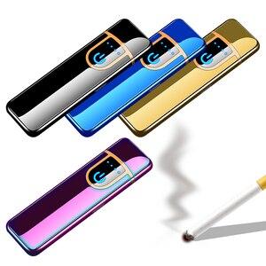 Электронная зажигалка, перезаряжаемая через USB, ветрозащитная, бесшумная, плазменная, легкая, разные цвета, аксессуары для сигарет
