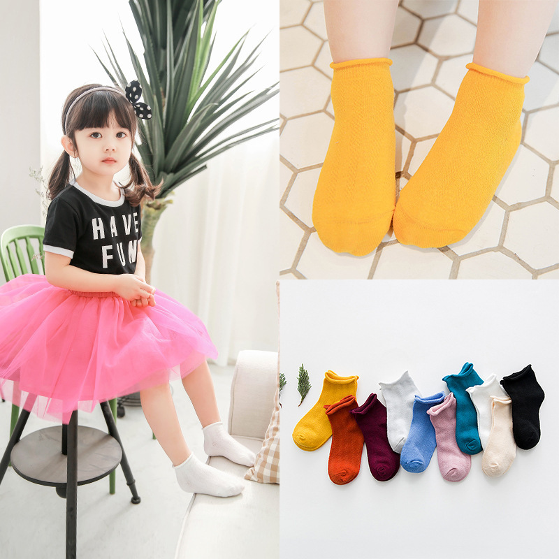 Children's Socks Summer New Products Mesh BABY'S Socks Thin Crimping Short Socks Solid Color Cotton Men And Women Children No-sh