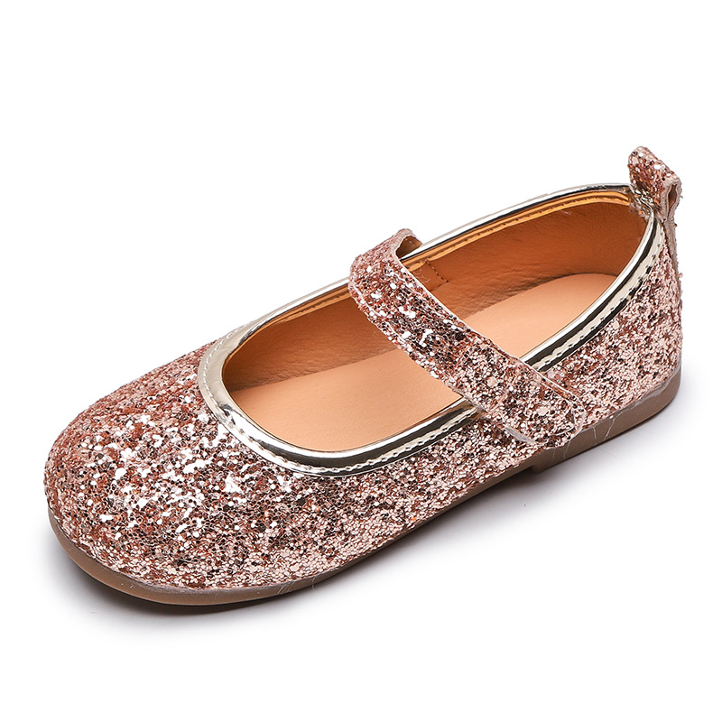 2020 Spring Autumn Girls Shoes Kids Shoes Princess Sweet Soft Leather Shoes Children Sneakers Girls Sneakers Sequined Glitter