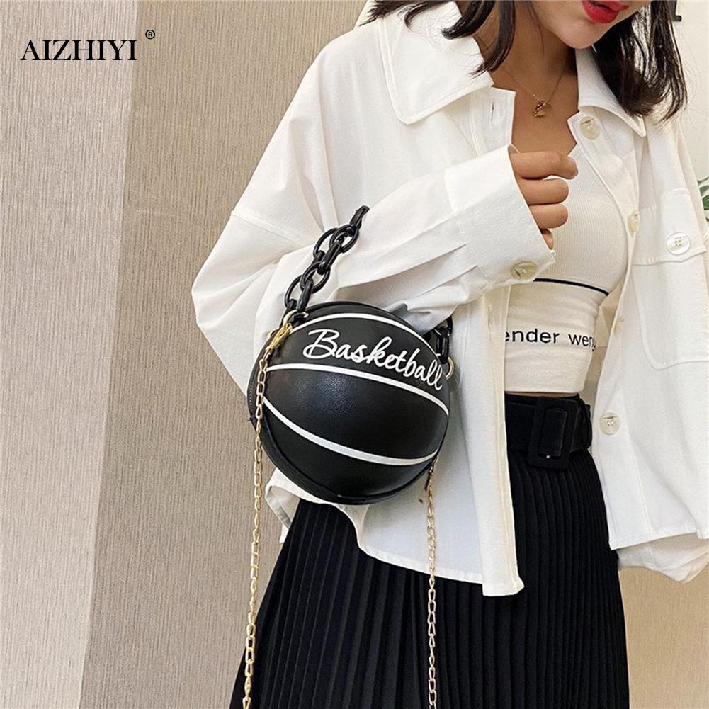 Модные баскетбольные круглые сумки через плечо для женщин, повседневные маленькие тоуты с акриловой цепочкой, кожаный мессенджер через плечо-2