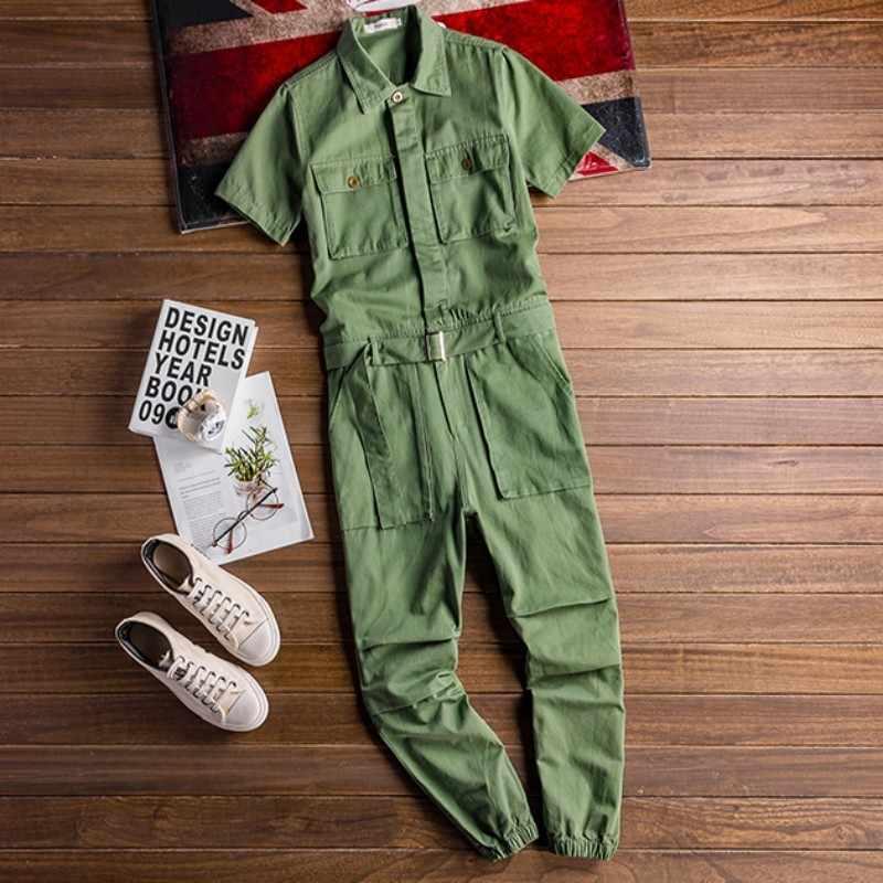 ヴィンテージメンズオーバーオール夏ルーズ半袖サテンジャンプスーツ男性ストリートヒップホップカジュアル貨物パンツジャンプスーツプラスサイズ 5XL