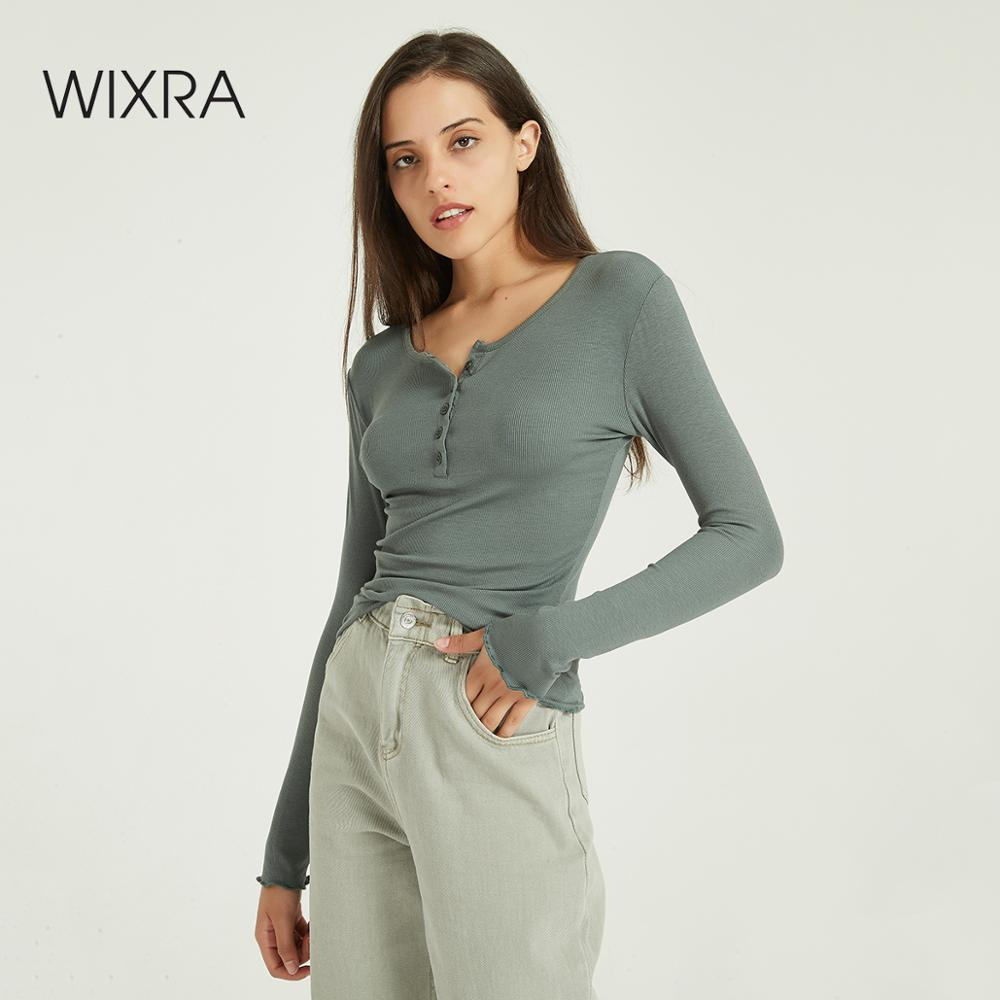 Wixra Women Soft T Shirts Ladies Slim Long Sleeve O Neck Basic Long Sleeve Tee Autumn Spring Button Casual Tops