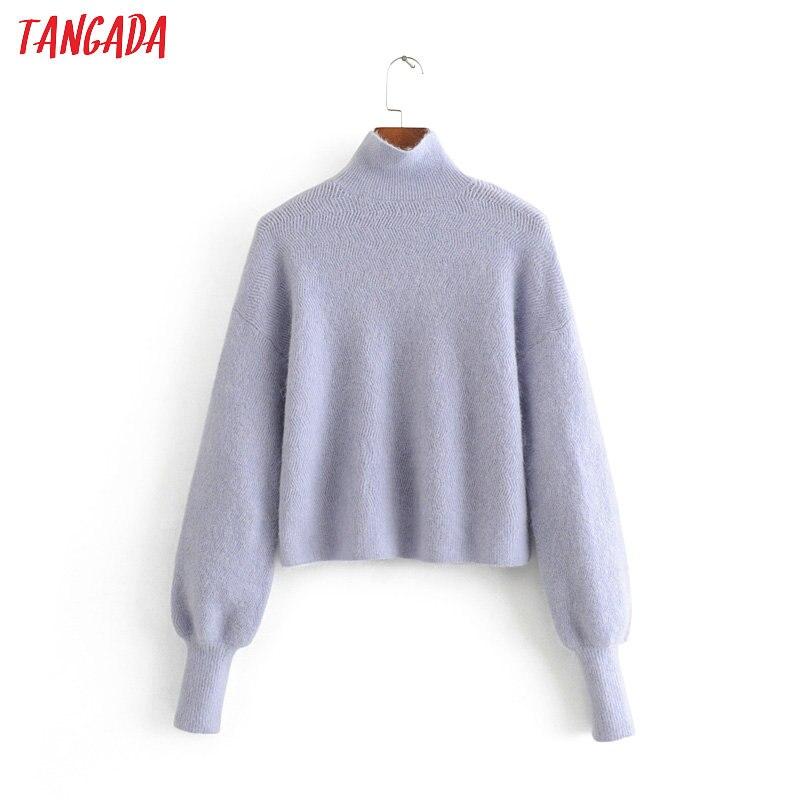 Tangada Women Blue Oversized Crop Jumpers Turtleneck Thick Warm 2019 Winter Long Sleeve Sweater Knitwear 3H224