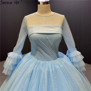 Image 3 - O Neck Blue High end Sexy Wedding Dresses 2020 Long Sleeve Ruched Tiered Bride Gowns Serene Hill DHA2316 Custom Made