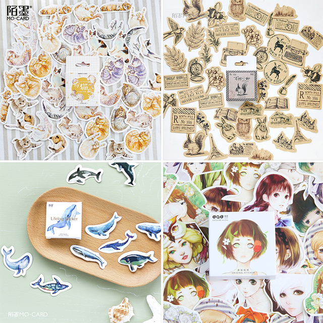 45 pcs/Box Various Stickers Diary Kawaii Cute Planner Journal Scrapbooking Paper Stickers Stationery School Supplies 2
