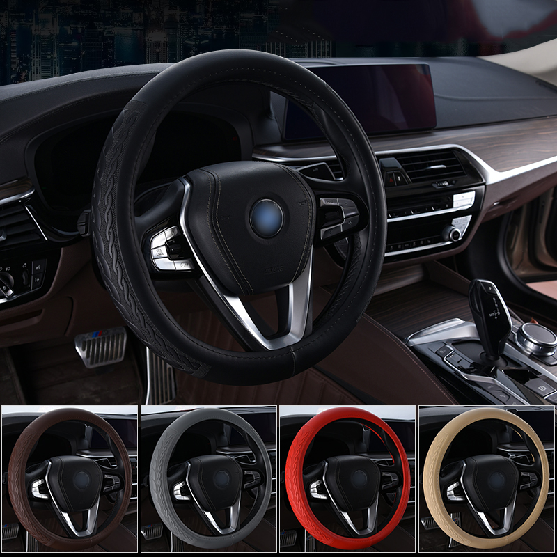 Universal Car leather steering wheel cover Non-slip 38CM Car-style sports steering wheel-respect trim Auto interior accessory title=
