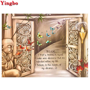 5D DIY Diamond Embroidery Monks and Butterflies door Diamond Painting Cross Stitch Full Square/Round Diamond Mosaic Rhinstones(China)