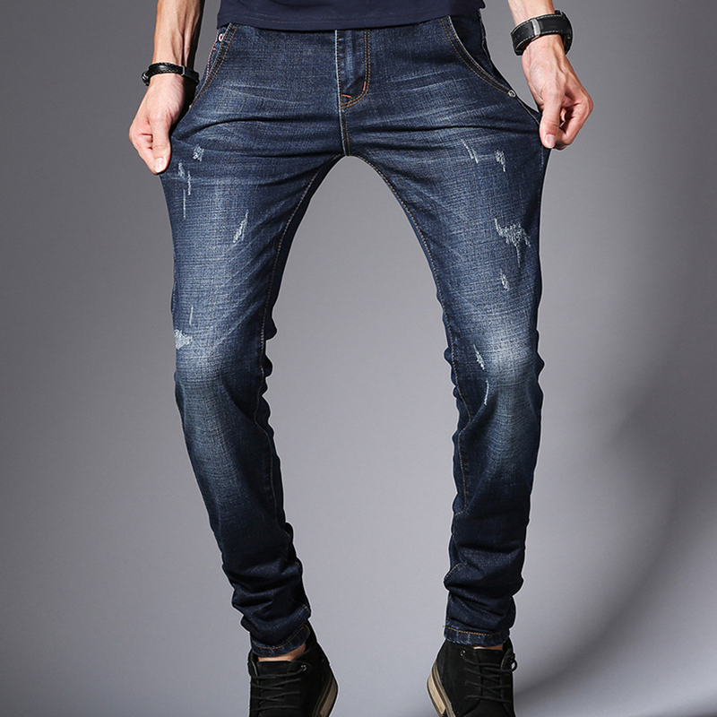 Youth Style Fashion Stretch Jeans Men Size 33 34 36 Men Jeans Casual Pants Men Trousers Slim Solid Color Men Pants