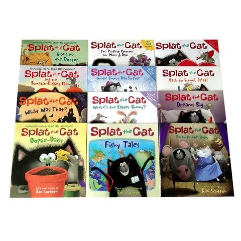 12 livros conjunto splat o gato engracado imagem leitura livro livro ingles para criancas infantil