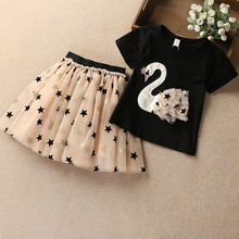 Summer Girls Clothes Sets Costume for Kids Children Clothing Sets Girls Princess Tracksuits for Girls Top Tees + Skirts 2 Pcs cheap NOVATX Fashion O-Neck Pullover BC1004 COTTON Short REGULAR Fits true to size take your normal size Shorts cartoon