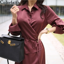 Colorfaith New 2020 Women Summer Shirt Dresses Solid Casual
