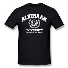 Alderaan University White T Shirt White Star Wars printed Tshirt Summer large TShirts(China)