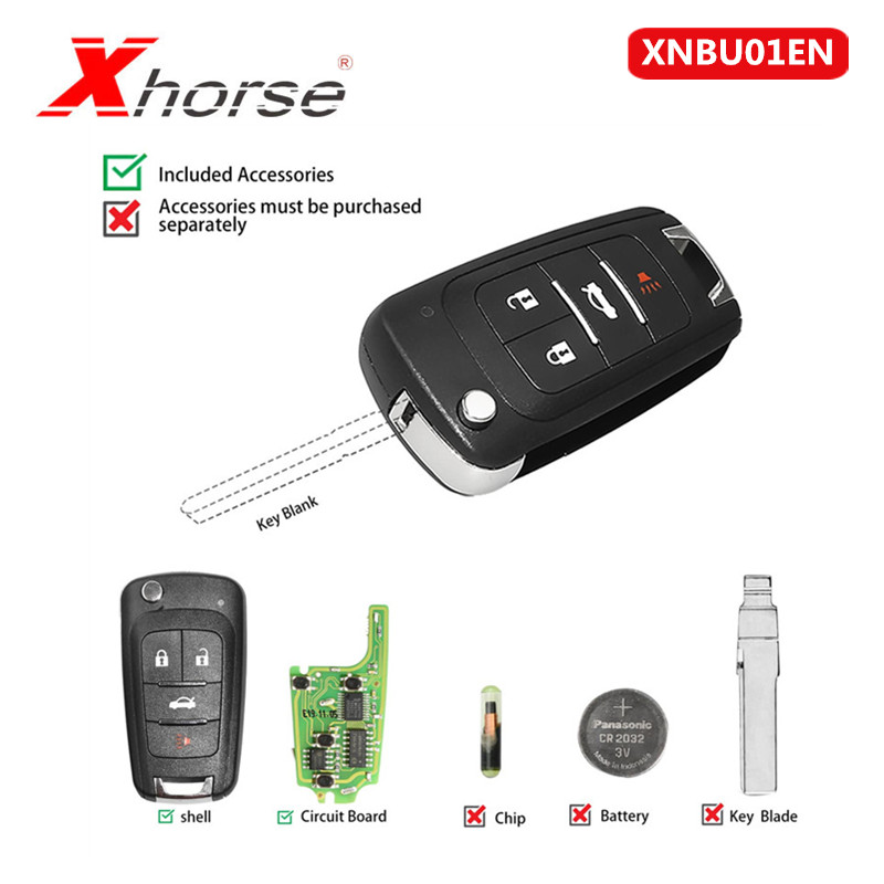 Xhorse WIRELESS XNBU01EN VVDI For GM FLIP Key Type Universal Remote Key 4 Buttons 1 Piece