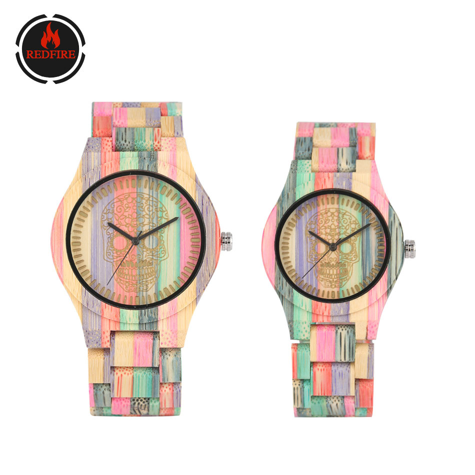 REDFIRE Punk Fashion Color Wood Watches For Couple Engraving Flowers Skull Head Wood Watch Women's Bangle Wooden Clock Reloj