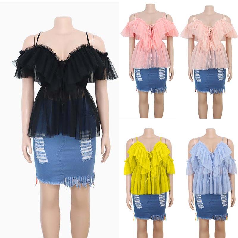 Sexy V-ausschnitt Off Schulter Schößchen Top Bluse Frauen Plissee Vintage Plissee Knit Hemd Ärmellose Bluse weibliche Sommer Casual Top