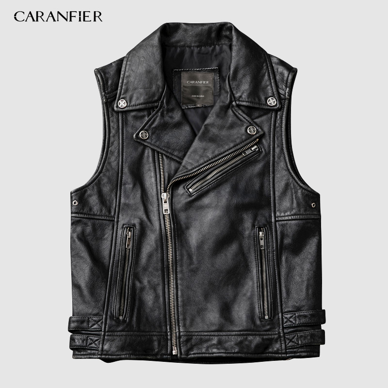 CARANFIER Fashion Jacket  Retro Mens Cowhide Vests Brand Angel Motorcycle Biker Sleeveless Jacket Male Genuine Leather Vests 4XL