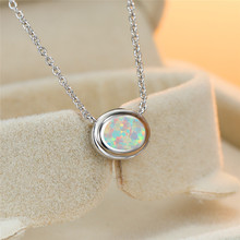 Boho Female White Opal Pendant Necklace Trendy Silver Oval Chain Necklaces For Women Trendy Bridal Geometric Weddings Necklace trendy ancient silver owl pendant sweater chain necklace for women