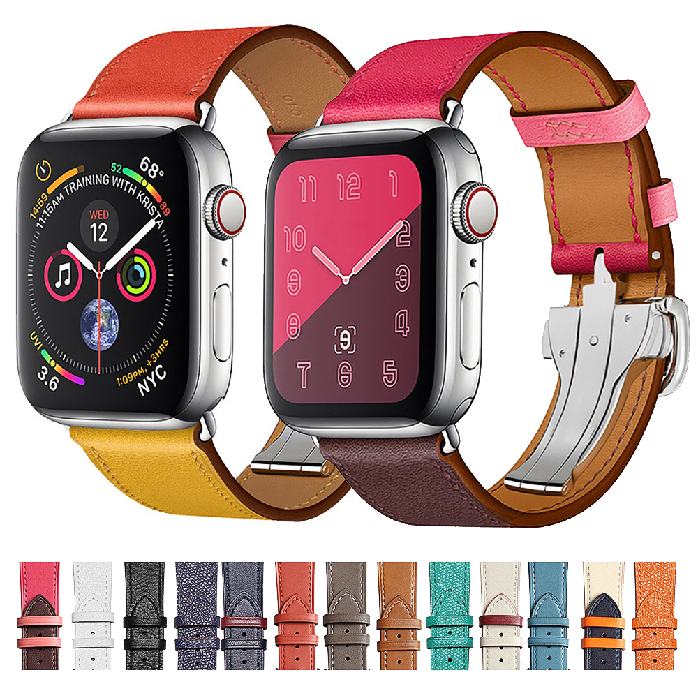 Cow Leather Strap For Apple Watch Band Series 5 Iwatch 44mm 4 3 2 1 Luxury Steel Buckle 42mm Loop 38mm Bracelet Replacement 40mm
