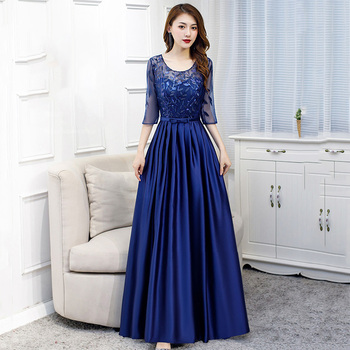 Navy Blue Sequin Banquet Dresses R278 O-Neck Robe De Soiree 2020 Half Sleeve A-Line Formal Gowns Embroidery Evening Dress