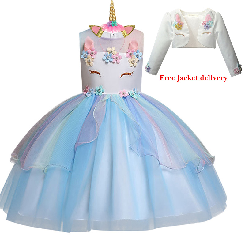 He8ef64c26f764212b7a24897197b6e42g New Unicorn Dress for Girls Embroidery Ball Gown Baby Girl Princess Birthday Dresses for Party Costumes Children Clothing