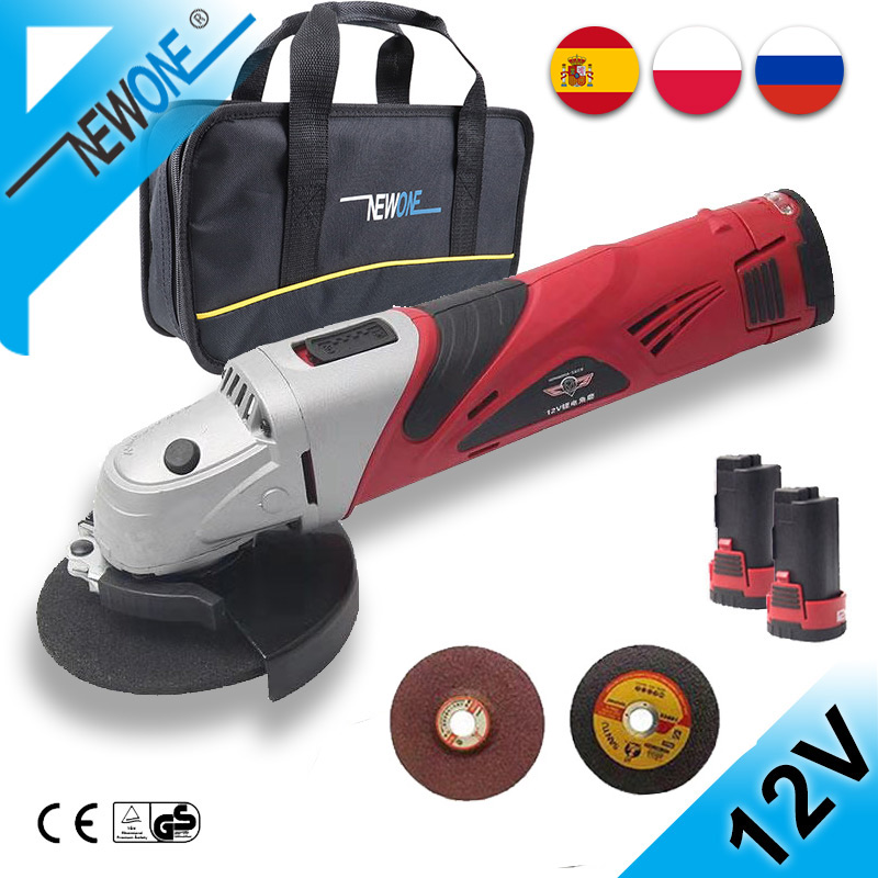 NEWONE 12V 2A Cordless Angle Grinder M10-100MM Grinding Machine Polisher Cutting Soft Metal Wood Electric DC Power Tool