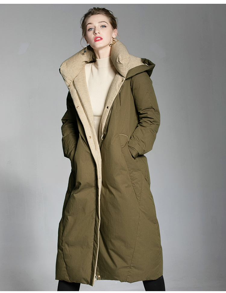 Europe winter two sides waer hooded 95% duck   down     coat   female oversize X-Long thicker warm duck   down   jacket F138