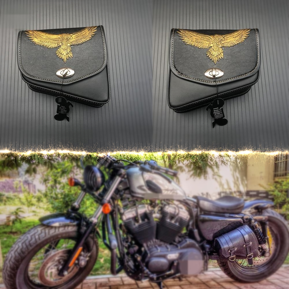 Left Right Universal PU Leather Motorcycle Saddlebag For Harley Sportster For Honda/Suzuki/Kawasaki/Yamaha