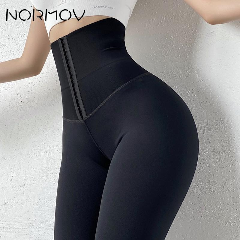 NORMOV High Waist Yoga Leggings Fitness Stretchy Sport Leggings Sports Gym Leggings Push Up Women Tights Yoga Pants Hot Solid