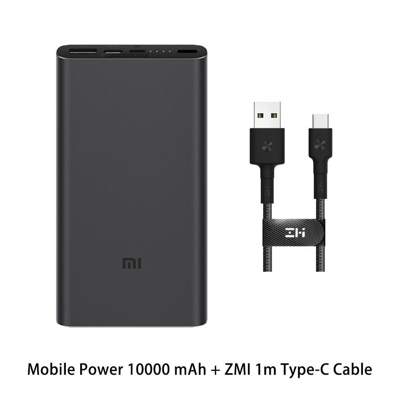 Xiaomi Mi 3 Pro 10000 мАч Внешний аккумулятор Двусторонняя Быстрая зарядка USB-C Двойной вход выход PLM12ZM 10000 мАч Внешний аккумулятор для мобильного телефона - Цвет: Black ZMI1 Type-C