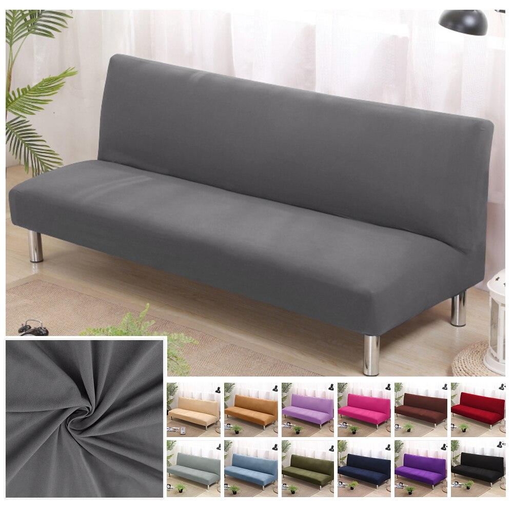 Fundas de sofá de 150-215cm de tela de poliéster con pliegues impresos y elásticos Universal de doble sofá sin brazos cubierta de cama asiento plegable funda moderna stretch cubre el sofá barato Protector elástico sofá cubierta