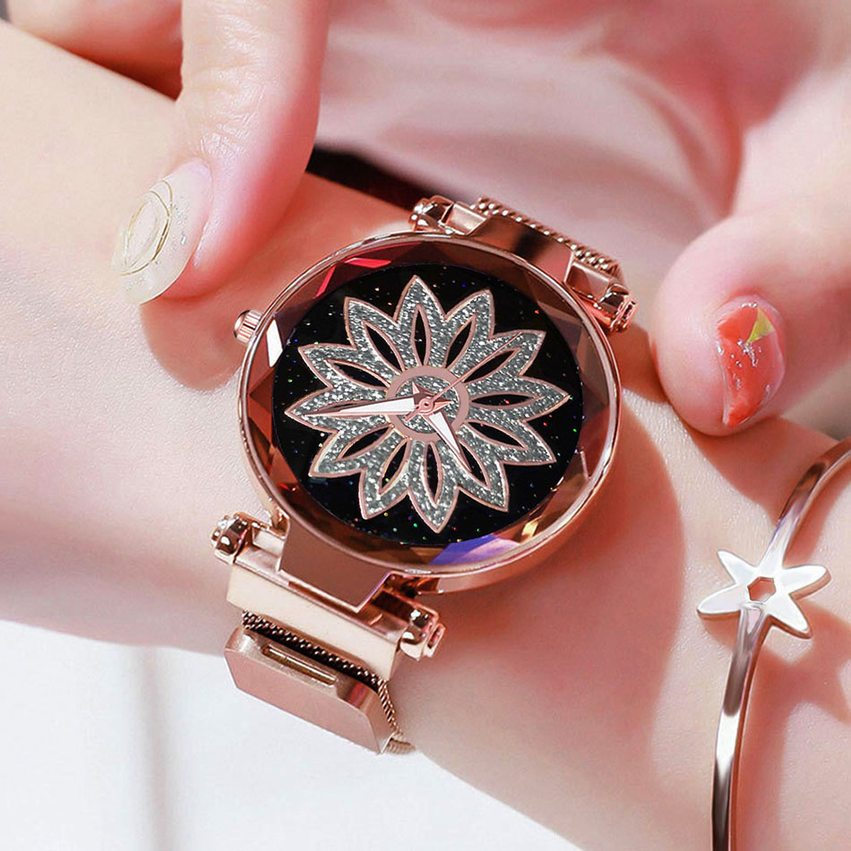 Luxury Brand Women Watches Mesh Magnet Lucky Flower Watch Fashion Ladies Geometric Quartz Clock Relogio Feminino 2019 Dropship