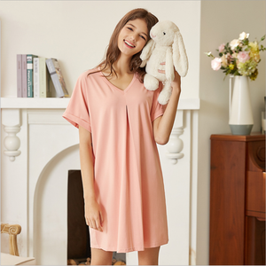 Image 2 - 2020 ฤดูร้อนหญิง Sweety Lace Sleepwear LADIES ชุดนอนผ้าฝ้ายผู้หญิงสั้นแขนยาวคอชุดนอน PLUS ขนาด XXL