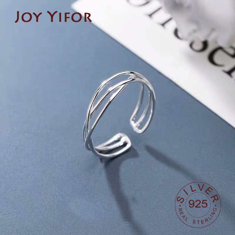 Real 925 Sterling Silver Minimalist Geometric Twist Line Adjustable Ring Authentic Fine Jewelry For Women Accessories Gift