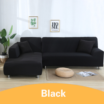 2Pcs Sofa Cover for Living Room Couch Cover Elastic L Shaped Corner Sofas Covers Stretch Chaise Longue Sectional Slipcover - Black, 3-Seat and 3-Seat