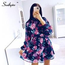 Chiffon Mini Dress Flower-Print Ladies Day-Clothing Long-Sleeve Spring Summer Fashion