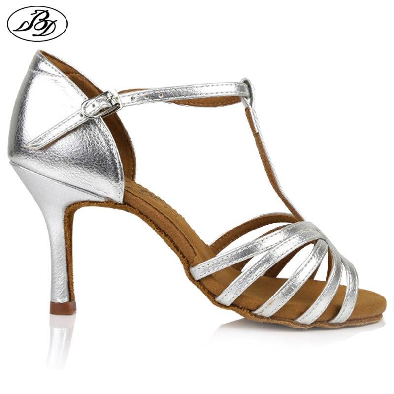 Women Latin Dance Shoes BD 217 Sliver Golden Napper Leather Sole Ladies Salsa Ballroom Dancing Shoes Sandal Dancesport Shining