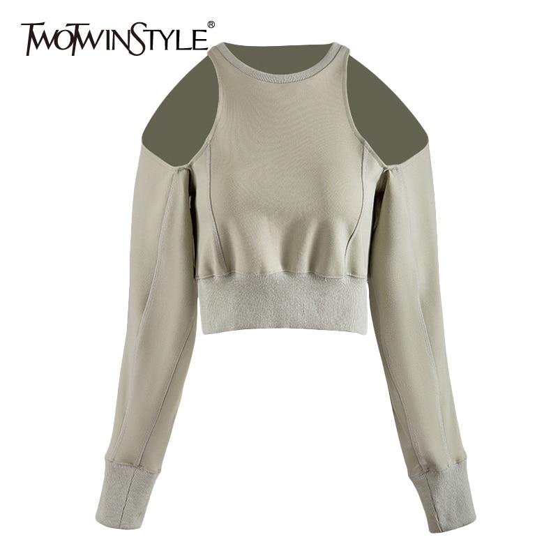 TWOTWINSTYLE Vintage Hollow Out Women Sweatshirt O Neck Lantern Long Sleeve Tunic Sweatshirts Female Fashion 2020 Clothes Tide