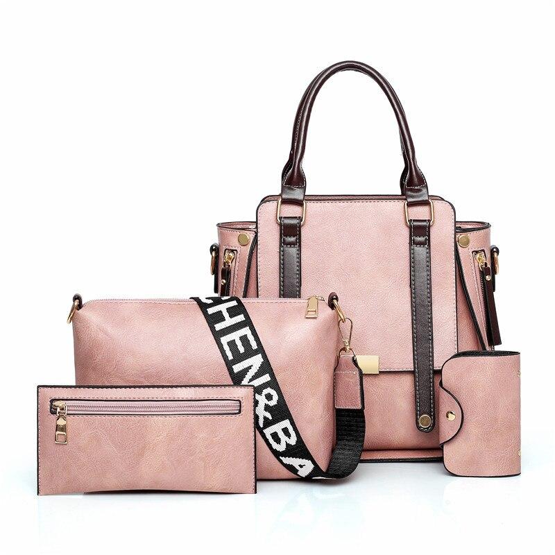 2019 Europe And America New Style Single WOMEN'S Bag Four-piece Set Versatile Shoulder Crossover Shoulder Bag/hand Bag Trend Kor