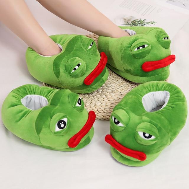 1 pc sehr schlechte Traurig frosch slipper grün frosch baumwolle hausschuhe frosch cartoon baumwolle plüsch hausschuhe hause innen grüne schuhe